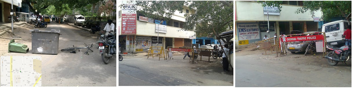 ashok nagar illegal road barricade