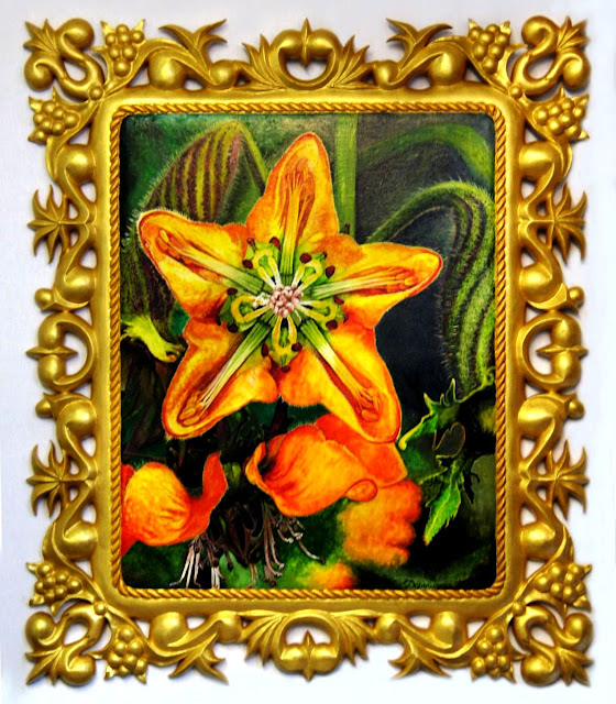 "Богдан Дорошенко, ""Кайофора"" (редкий цветок), ольха, плита х20, 65х55см, худож.гуашь под лаком, резьба под золотом и лаком"