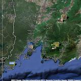 Localisation des stations en Primorye (Oussouri) : Vladivostok (au centre), Tigrovoy et Anisimovka (à l'est), Anutchino (au nord-est) et Andreevka (sud-ouest).