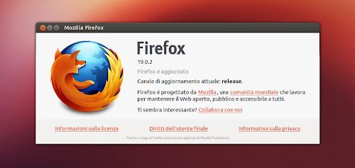 Firefox 19.0.2 su Ubuntu