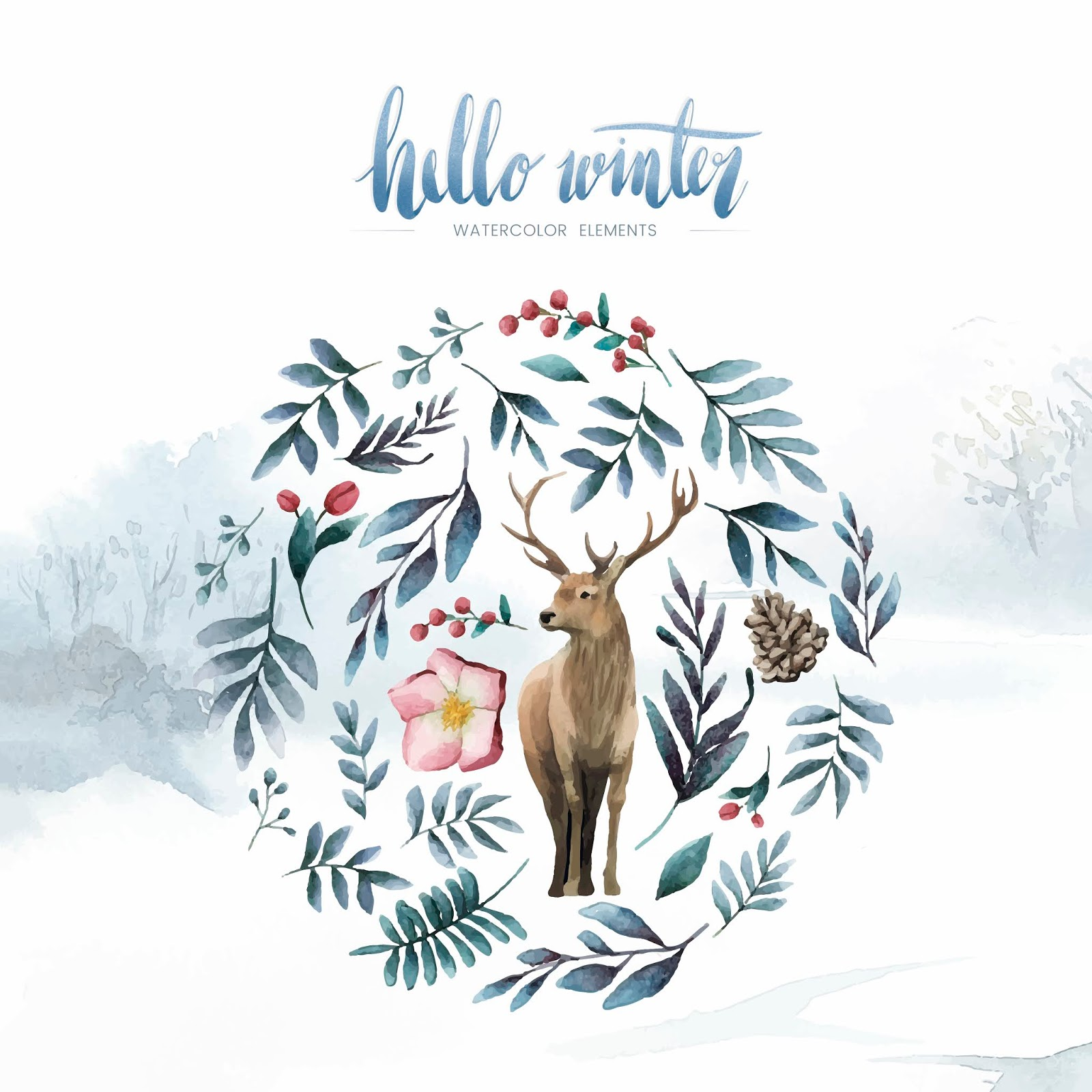 Deer Surrounded By Winter Bloom Watercolor Vector Free Download Vector CDR, AI, EPS and PNG Formats