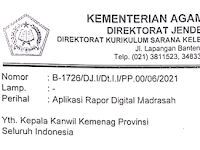 Surat Edaran Aplikasi Raport Digital Madrasah (RDM)