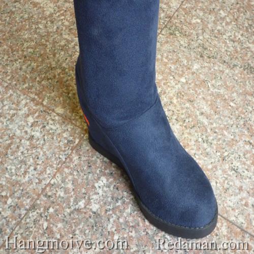 Boots đế xuồng, cao cổ quá đầu gối, chất liệu bằng da lộn, màu xanh 3 - Chỉ với 790.000đ
