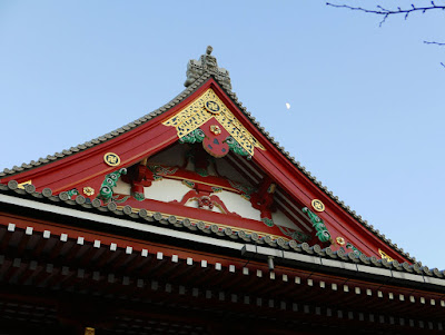 Moon rising over the Main Hall of Sensoji Temple