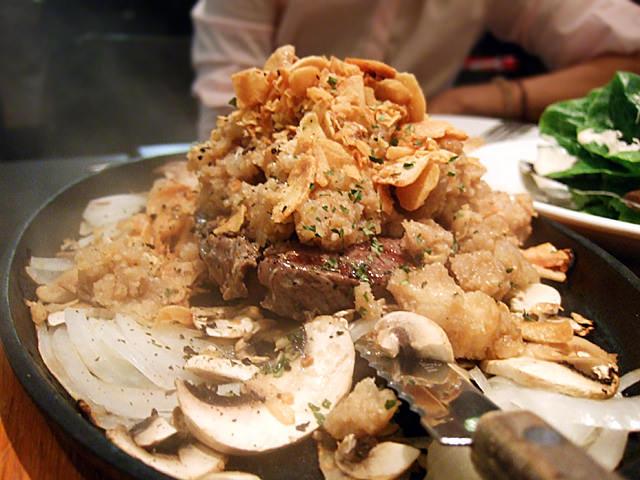Garlic hug steak