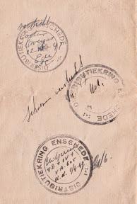 Stempels van Distributiekring Enschede op achterzijde eervol ontslagbrief uit het leger van Anthonie van Weersel.