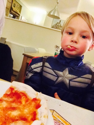 Blake Preston Clement as Captain America Eating Pizza