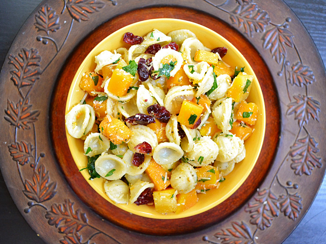 Top view of a bowl of butternut squash pasta salad