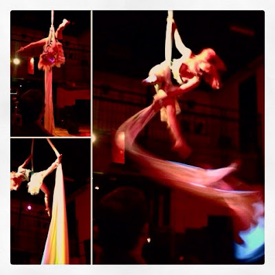 acrobatics on the silks at Cafe Instanbul Freakeasy