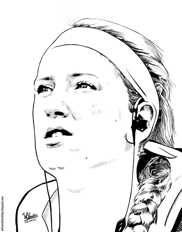 Ink drawing of Victoria Azarenka, using Krita 2.4.
