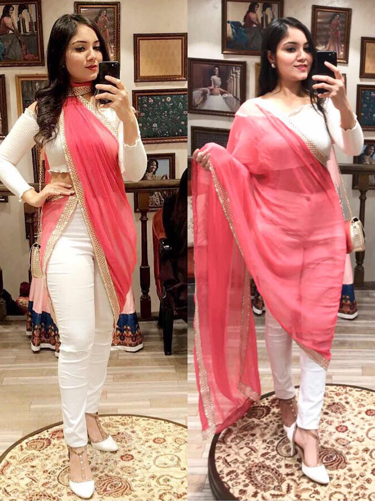 2e7e68f4a0c ... at Simaaya launch in Indore. I just loved the combination of white and  pink. I have never seen this combination yet and it really worked  fabulously.