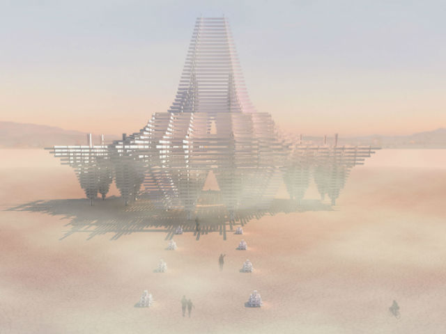 Design for the 2017 Burning Man Temple, made from 3,000 boards milled from trees killed by the recent California drought. Graphic: Steven Brummond, Marisha Farnsworth, and Mark Sinclair / Temple2017.org