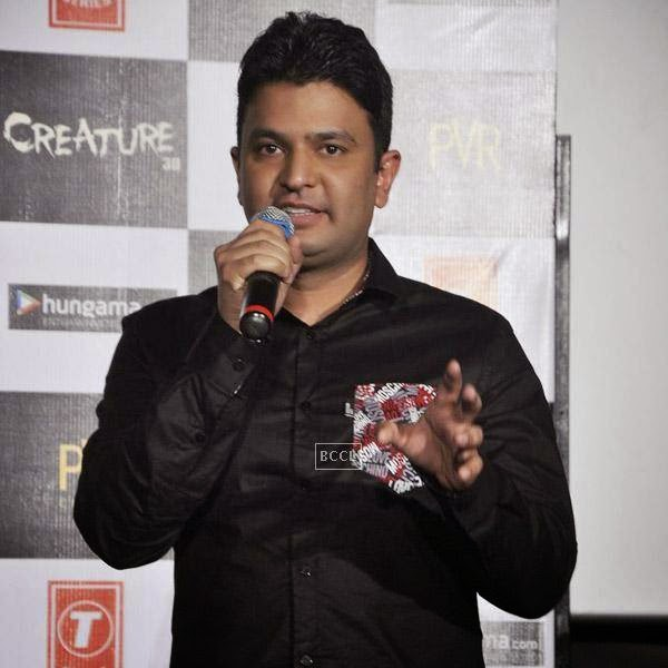 Bhushan Kumar speaks during the trailer launch of Bollywood movie Creature 3D, held at PVR, on July 16, 2014.(Pic: Viral Bhayani)