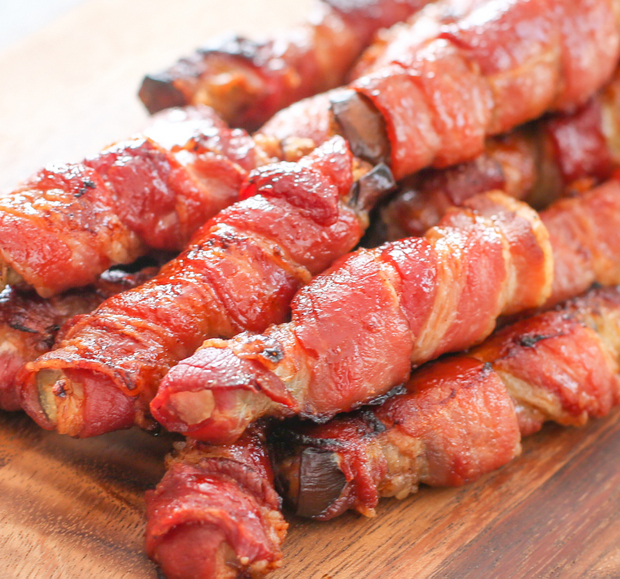 bacon-wrapped eggplant fries photo
