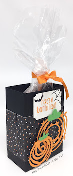 Linda Vich Creates: A Halloween Treat, A Ghost, and Other Creepy Stuff. A Halloween treat box made with Halloween Night Specialty DSP and the Swirly Scribbles Thinlits.