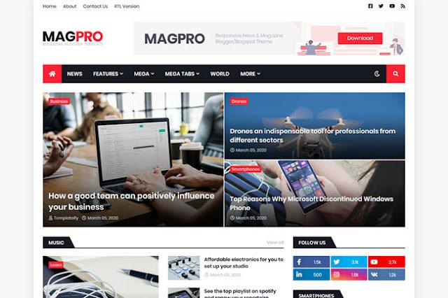 Download MagPro - Responsive news & magazine Premium Blogger template