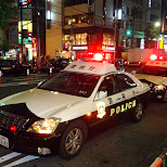3 Tokyo Police cars after a riot at Gaspanic in Roppongi in Tokyo, Tokyo, Japan