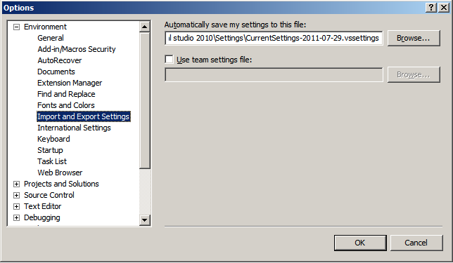 Visual Studio Export Settings