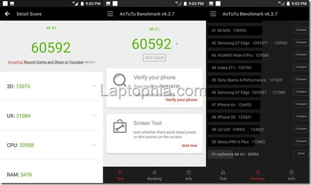 Benchmark AnTuTu v6 Xiaomi Mi A1