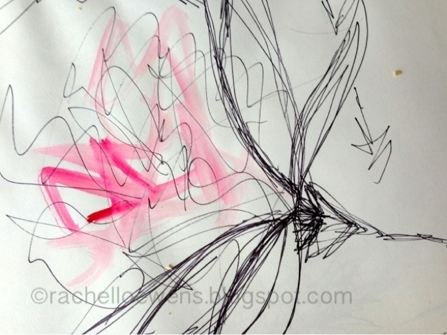 sketch by Rachel Loewens: abstract flower pink