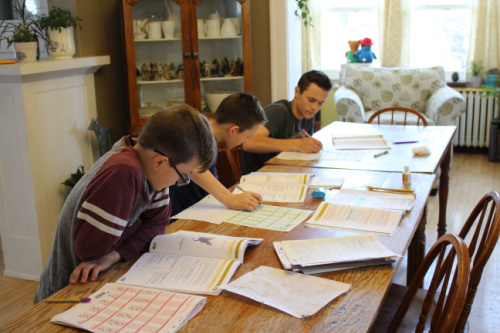 Boys taking annual assessments