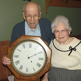 Donald and Ivy Green with the Green School clock they donated to the historical society. The couple represented the Hartwell Green family who were honored with an Outstanding Community Service award.