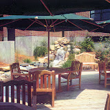 Outdoor Hospital Dining Deck Overlooking Water Feature