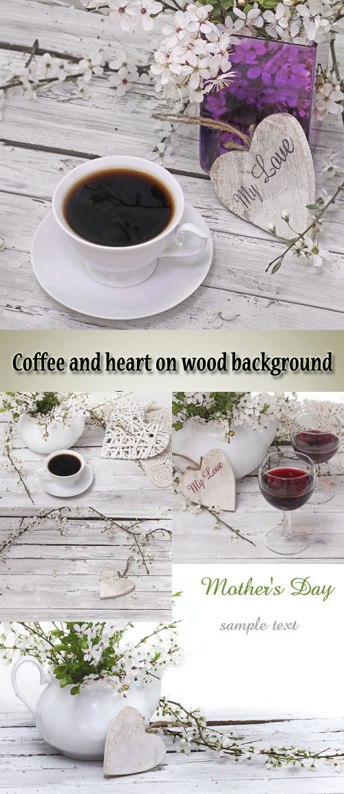 Stock Photo: Coffee and heart on wood background