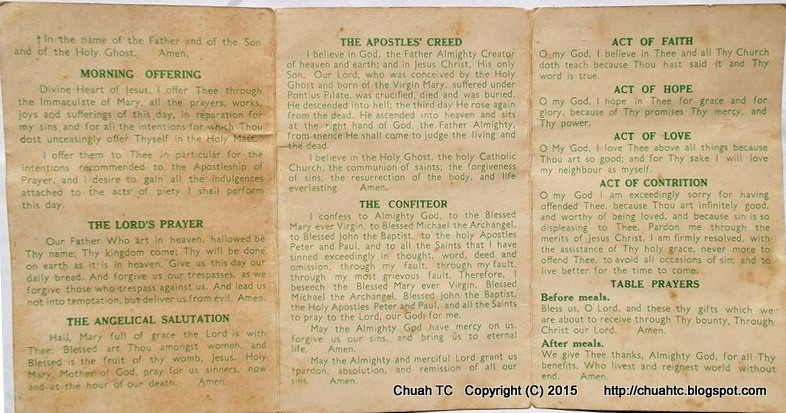 St. Michael' s Institution, Ipoh - My Daily Prayers (Reverse Side) - Click To Enlarge