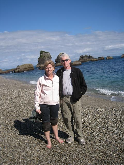A rocky beach on the Tasman Sea