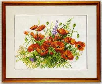 Poppy Flowers Fieldcross stitch pattern