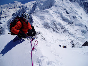 Photo: Sitting on top. Bill and Sean approaching, the Linda's crevasses far below.
