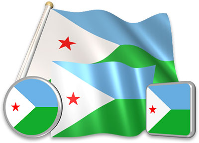 Djiboutian flag animated gif collection