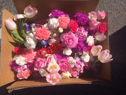 Wedding flowers ready to be delivered to an aged care home