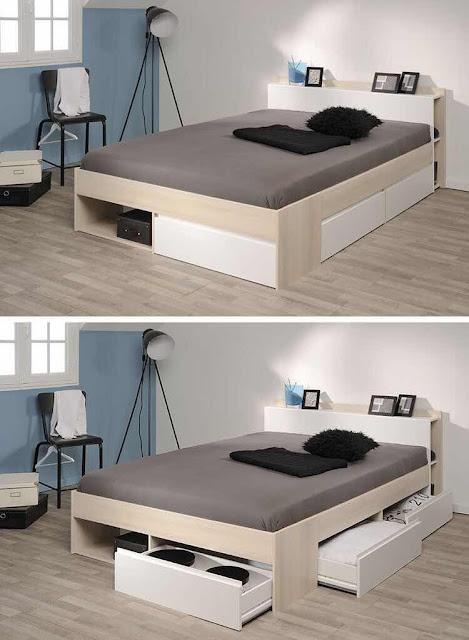 Banyak cara menghemat ruang kamar agar terasa nyaman dan leluasa. Salah satunya menerapkan konsep minimalis lewat ranjang atau tempat tidur laci.  Seperti contoh gambar inspirasi ini.