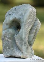 """""""Brunnenstein"""", Hellgrüner Speckstein, 30x20x39, 2006"""
