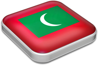 Flag of Maldives with metallic square frame
