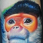 Tattoo monkey with excellent color - Monkey Tattoos Pictures