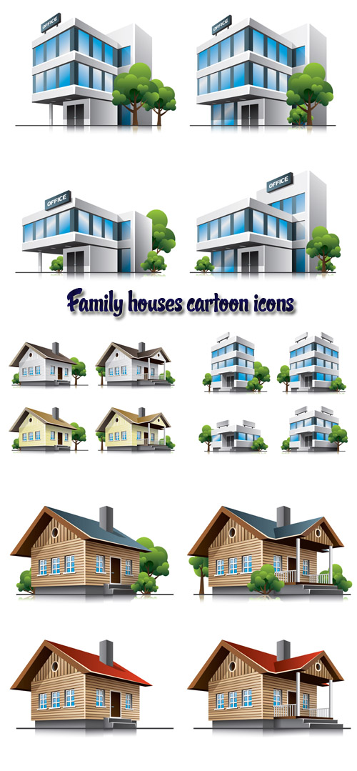 Stock: Family houses cartoon icons
