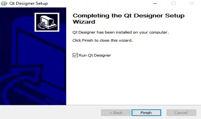نجاح تثبيت Qt Designer على الحاسوب