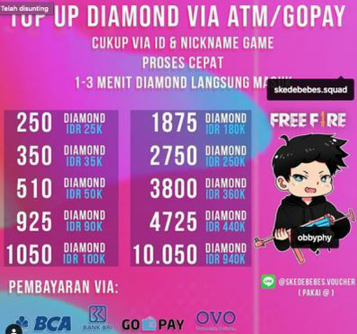 Top up diamond Free Fire di skedebebes