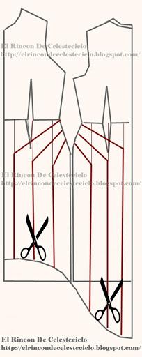 Trazo de vestido cola de pato con falda ampliada