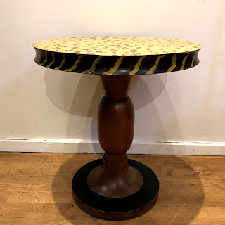 Hand-Painted Pedestal Side Table