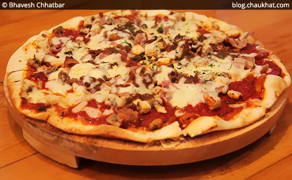 Creamy Chicken and Cheese Non-Veg Pizza at Double Roti, Viman Nagar, Pune