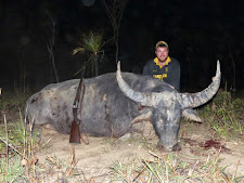 Mr Duncan Fraser from Cardrona Safaris, New Zealand with 100+ point bull taken with a 470 doubler rifle at 15 yards.