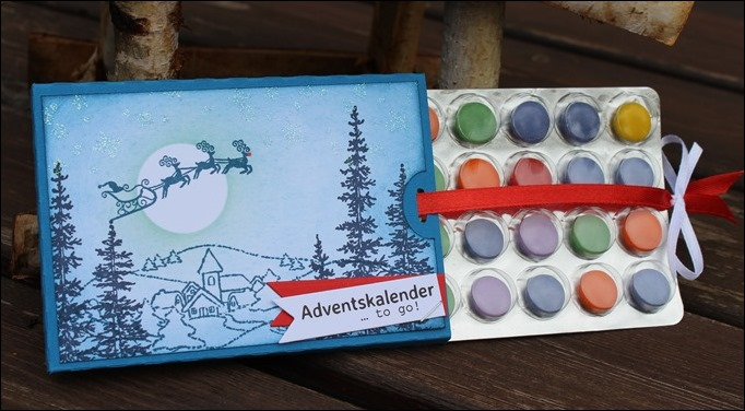 Adventskalender to go Stampin Up Santa Sleigh Rudolph Winter Scene Dorf Weihnachten 03