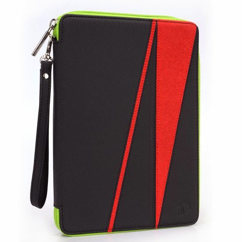 GizmoDorks Travel Folio Zipper Stand Case Cover Pouch for Asus Google Nexus 7 Tablet with Carabiner Key Chain - Red