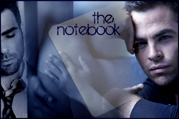 story banner; Chris and Zach with an empty notebook