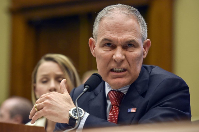 Scott Pruitt, head of the Environmental Protection Agency, testifies before the Committee on Energy and Commerce Subcommittee on Environment at the Rayburn House Office Building on 26 April 2018, in Washington. Photo: Jahi Chikwendiu / The Washington Post