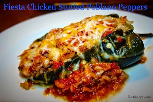 Fiesta Chicken Stuffed Poblano Peppers
